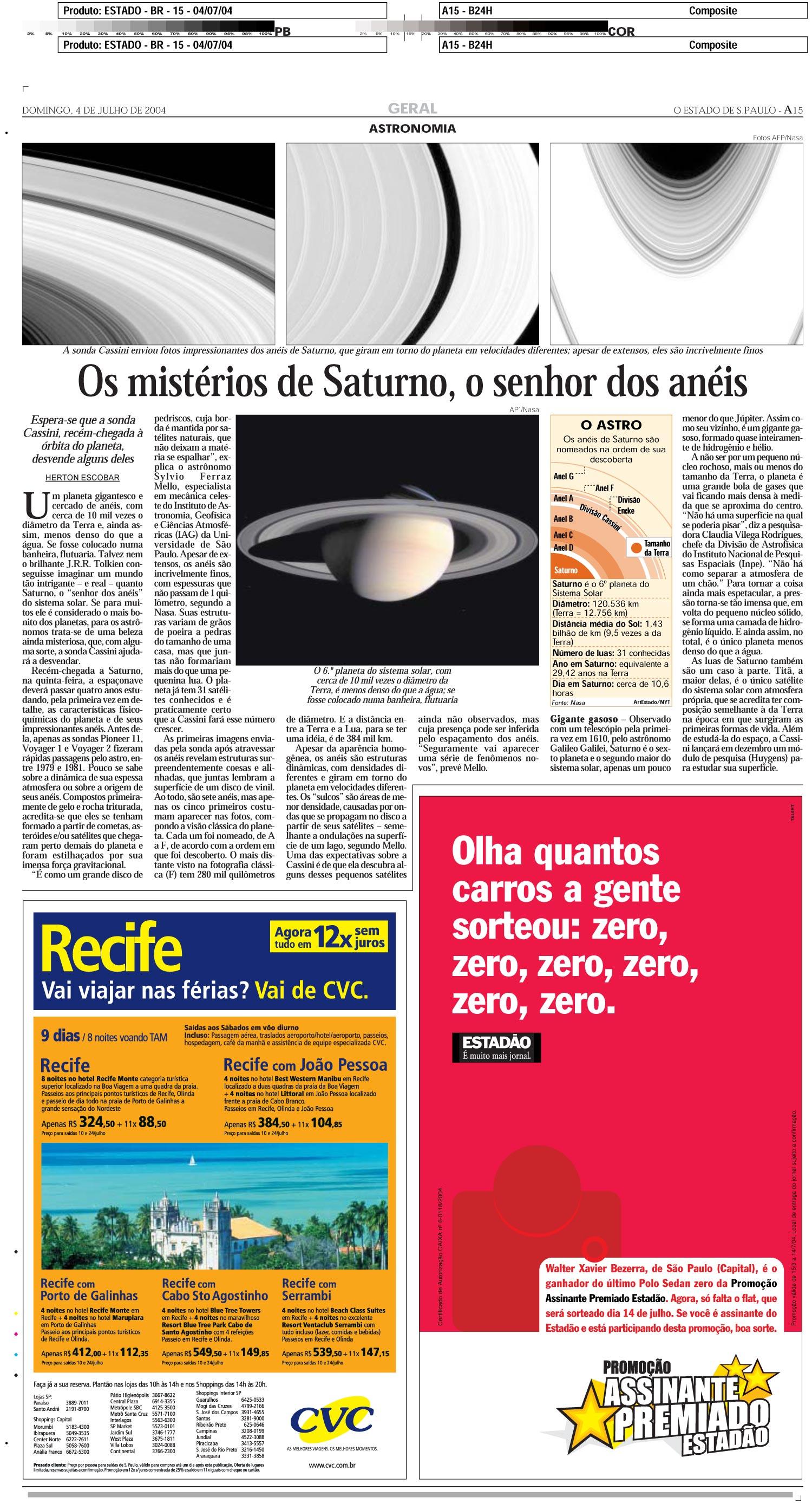 Os mistérios de Saturno, o senhor dos anéis