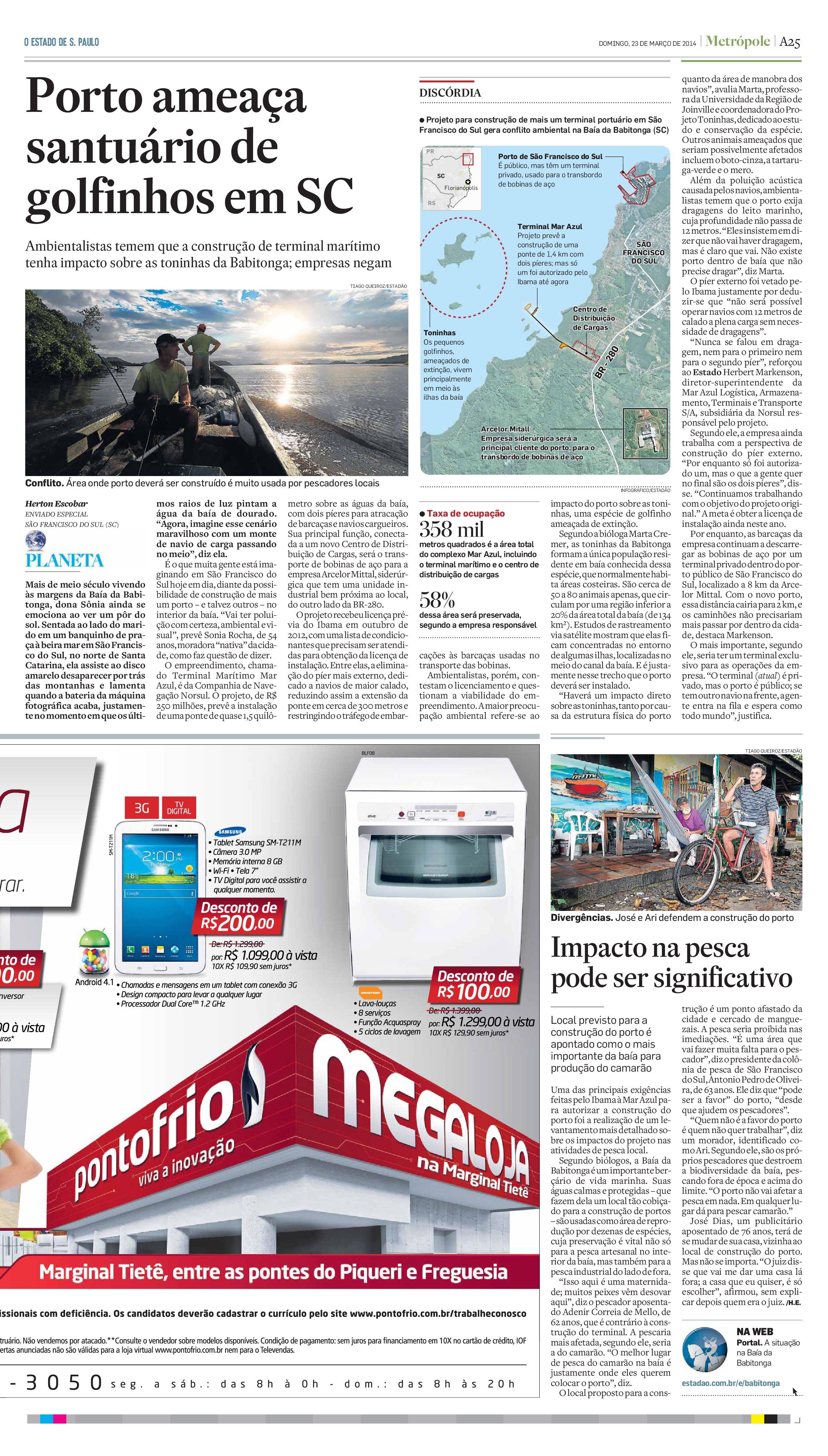 Porto ameaça santuário de golfinhos em SC