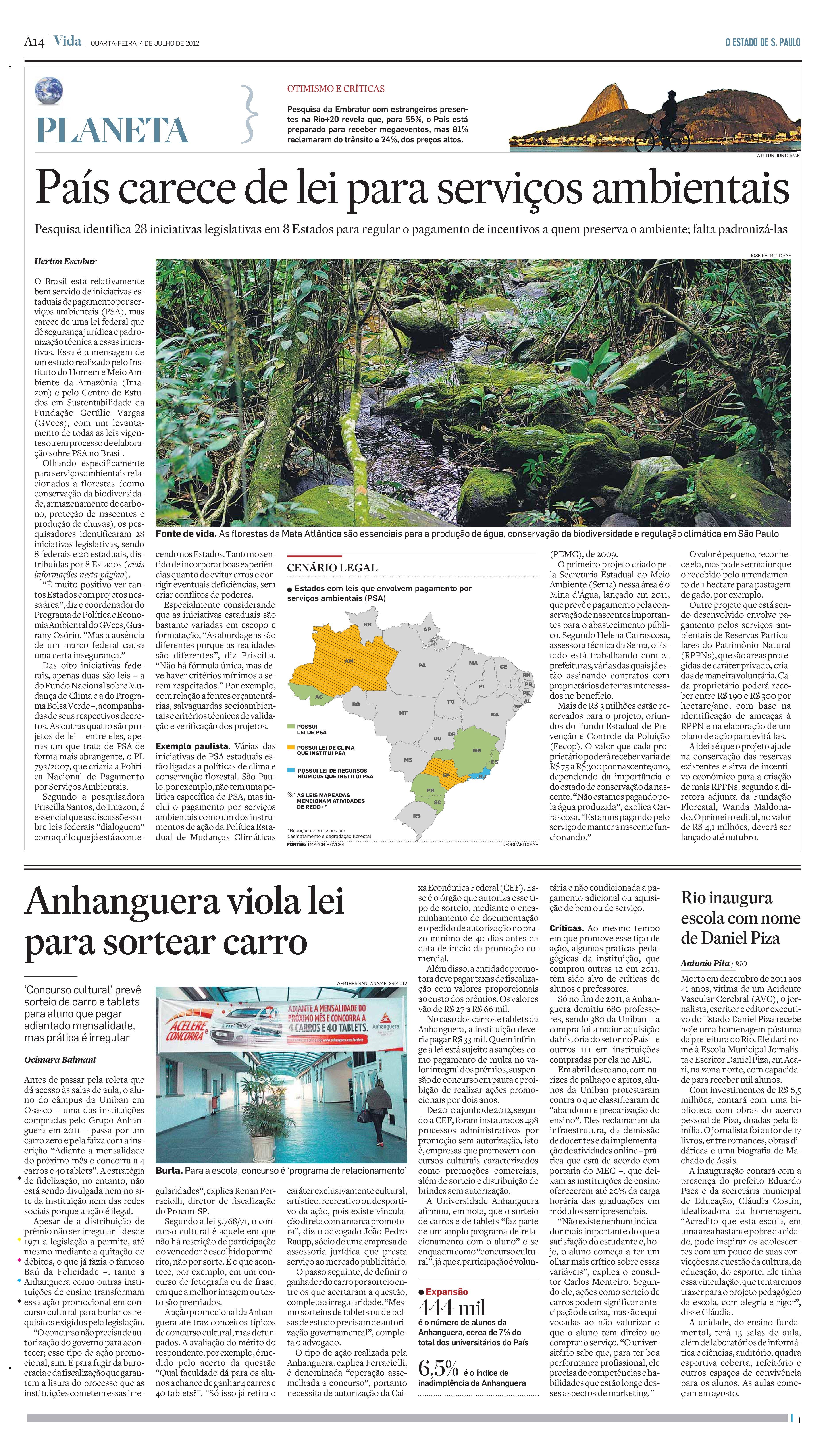 País carece de lei para serviços ambientais