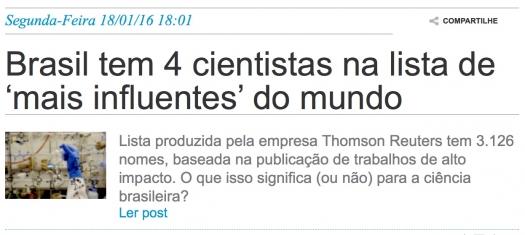Brasil tem 4 cientistas na lista de mais influentes do mundo