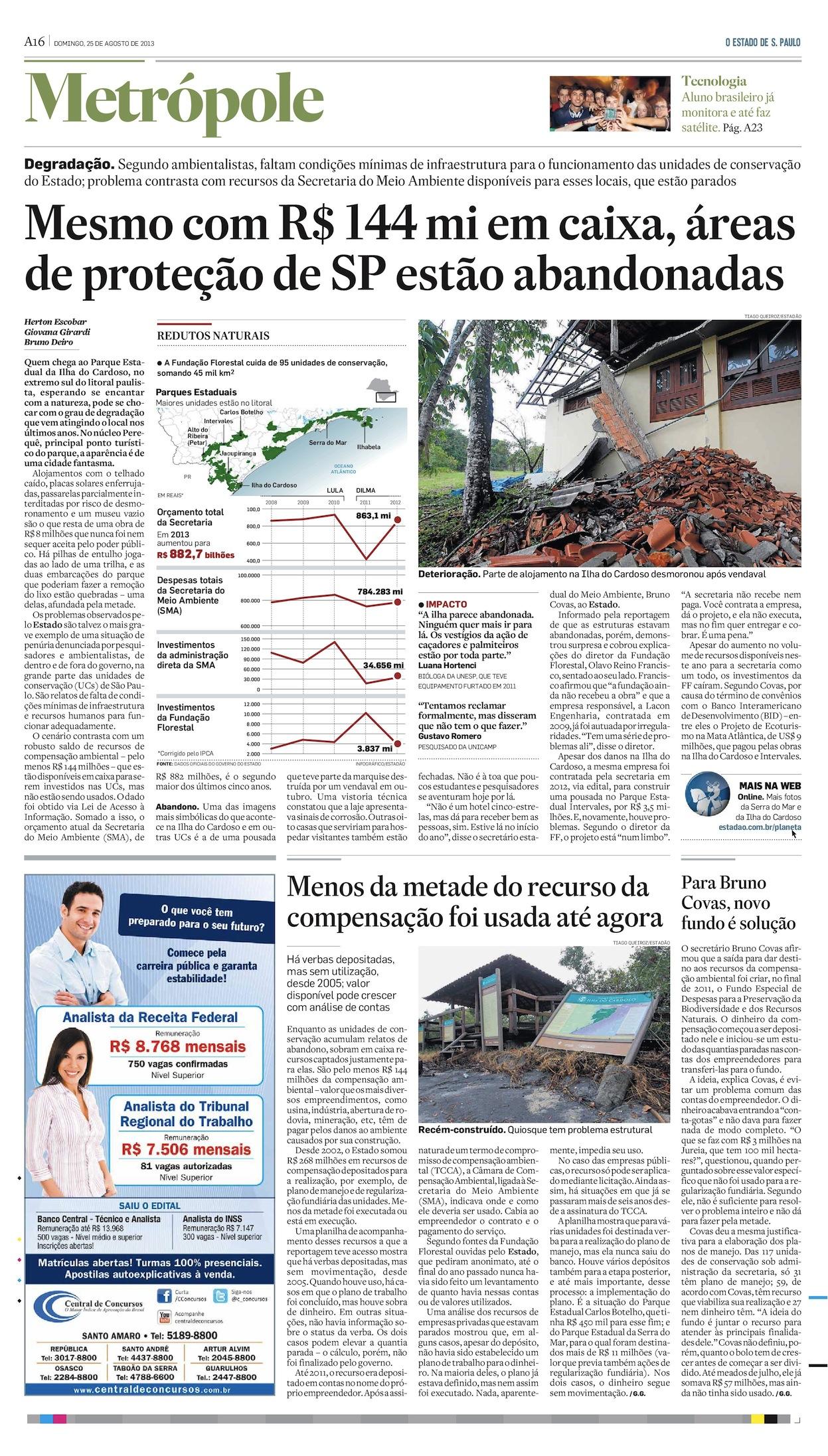 Mesmo com R$ 144 milhões em caixa, UCs de São Paulo estão abandonadas