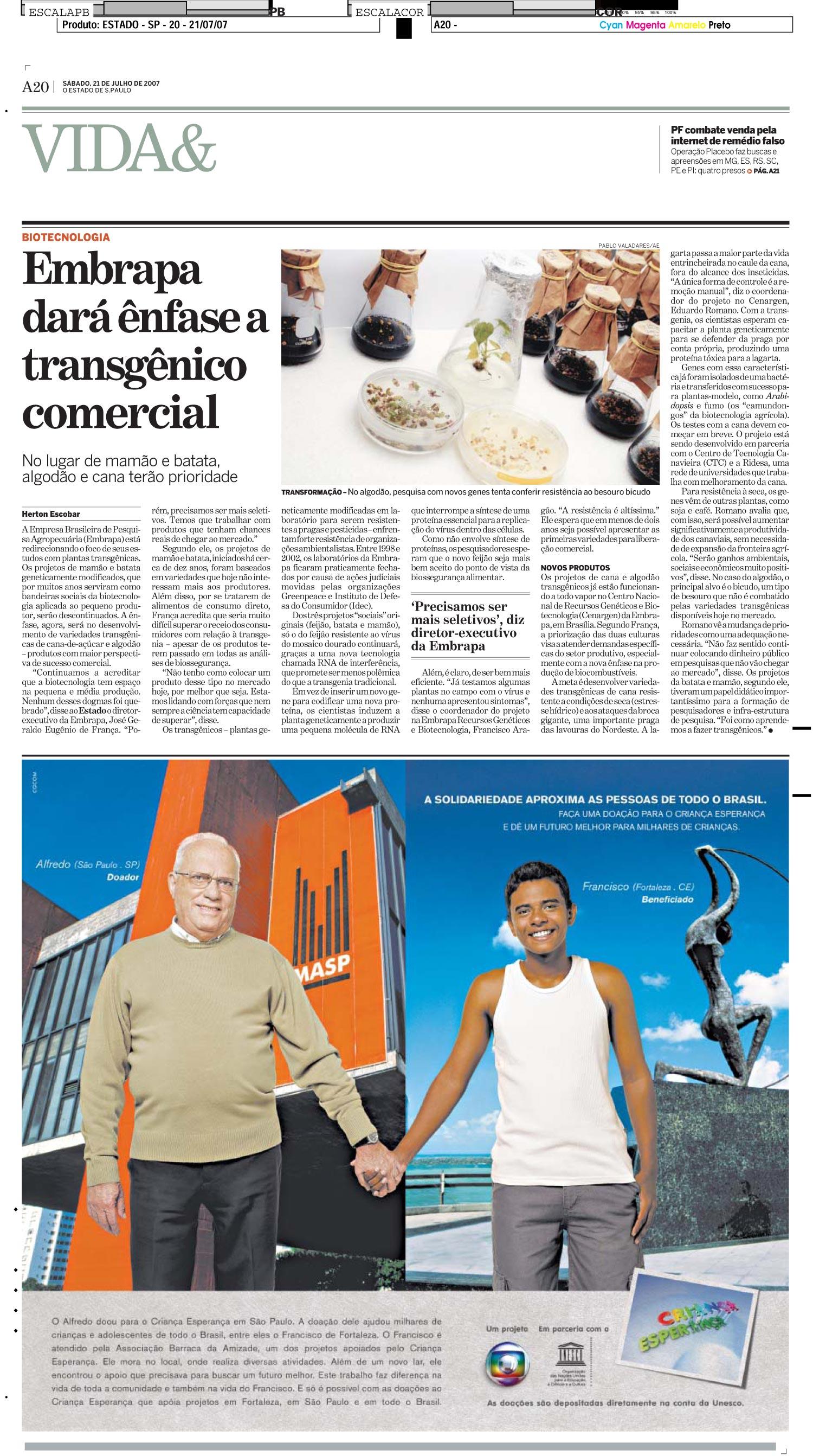 Embrapa dará ênfase a transgênico comercial