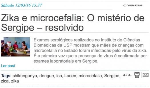 Zika e microcefalia: O mistério de Sergipe - resolvido
