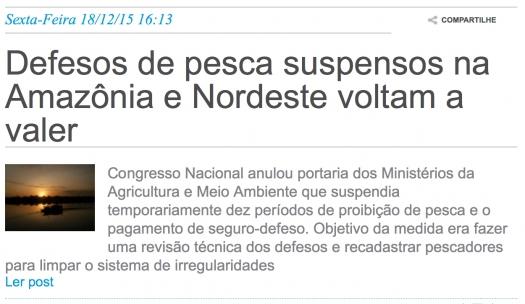 Defesos de pesca suspensos na Amazônia e Nordeste voltam a valer