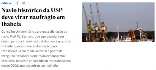 Navio histórico da USP deve virar naufrágio em Ilhabela