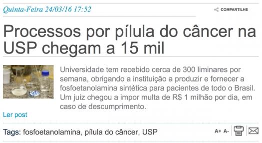 Processos por pílula do câncer na USP chegam a 15 mil
