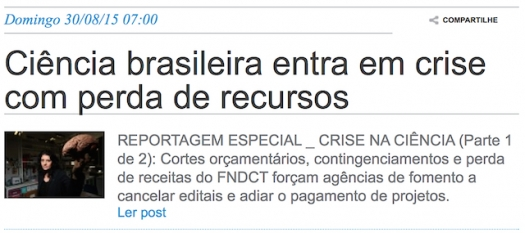 Ciência brasileira entra em crise com falta de recursos