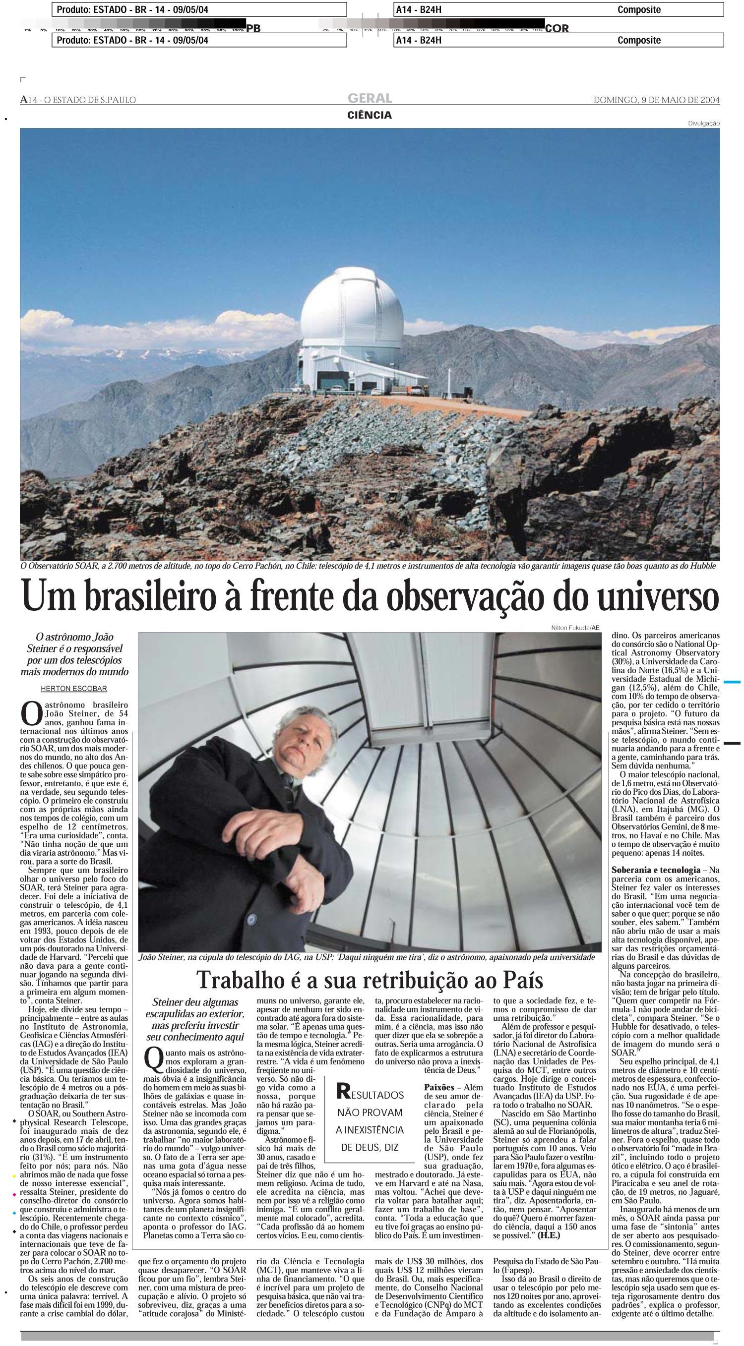 Um brasileiro à frente da observação do universo