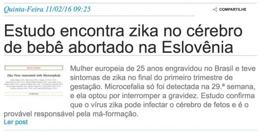 Estudo encontra zika no cérebro de bebê abortado na Eslovênia