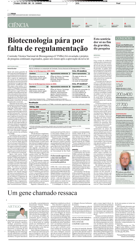 Biotecnologia pára por falta de regulamentação