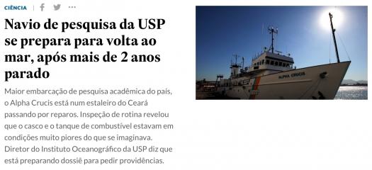 Navio de pesquisa da USP se prepara para voltar ao mar