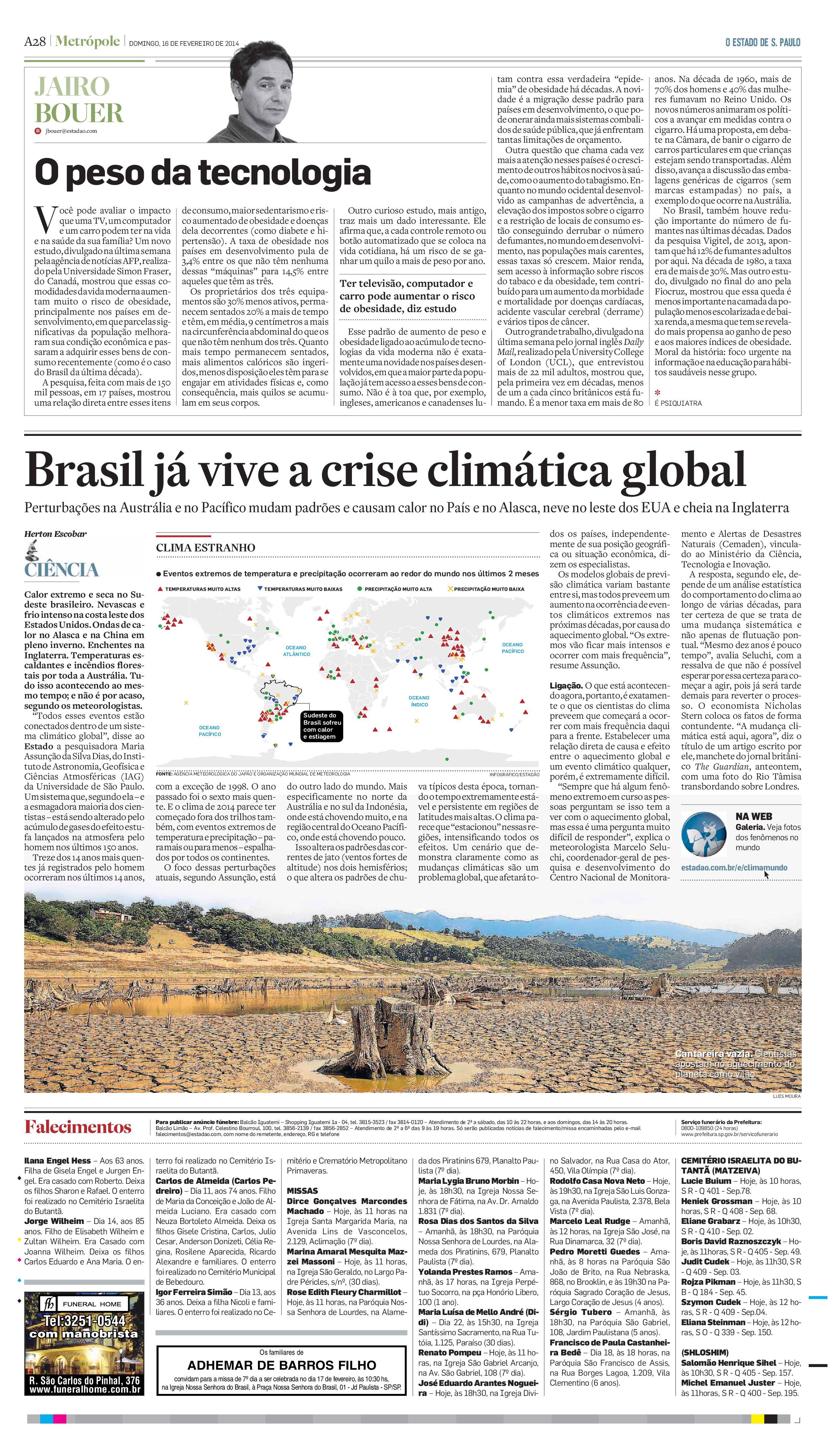 Brasil já vive crise climática