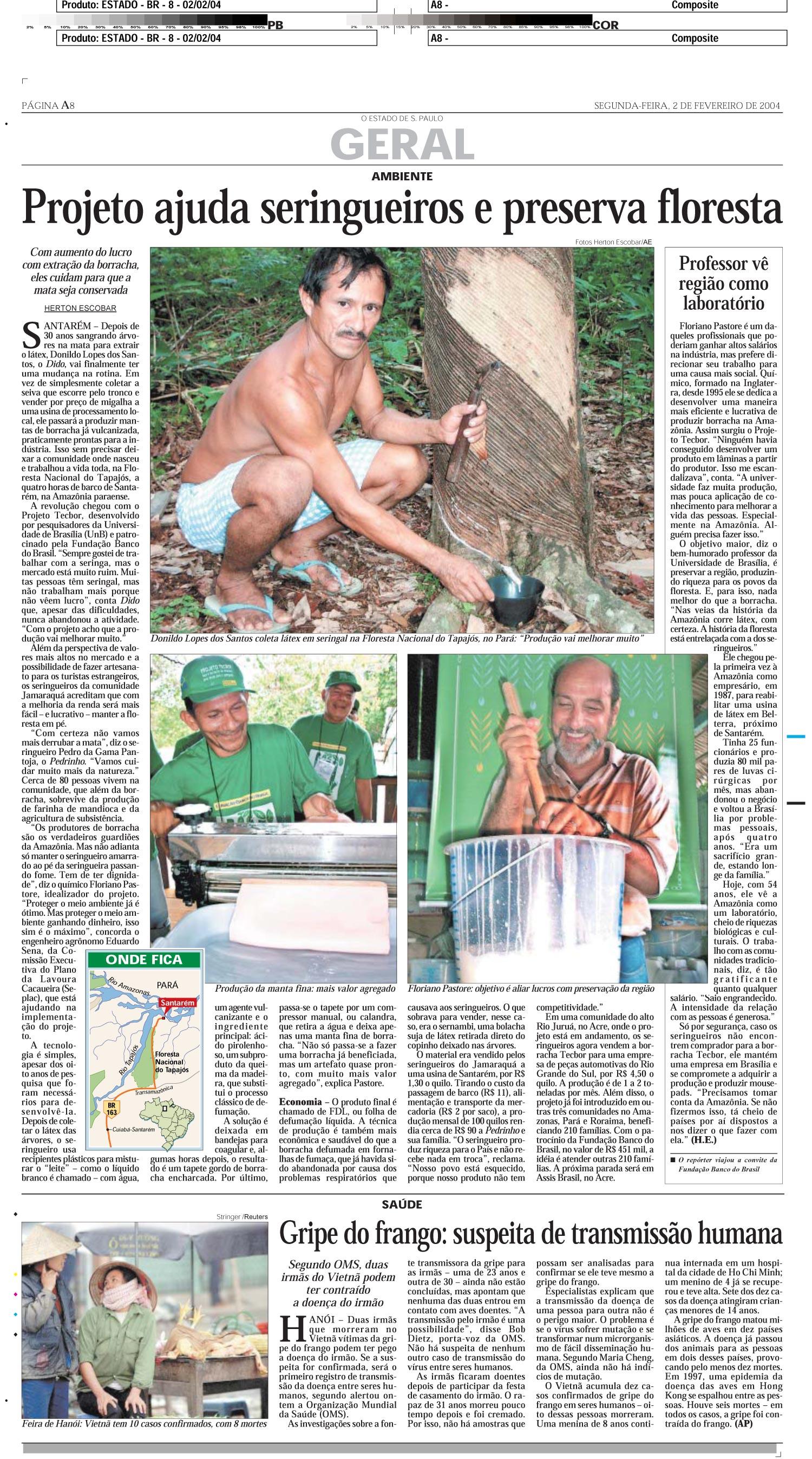 Projeto ajuda seringueiros e preserva floresta