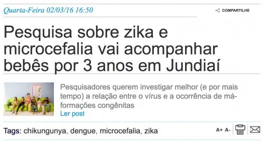 Pesquisa sobre zika e microcefalia vai acompanhar bebês por 3 anos em Jundiaí