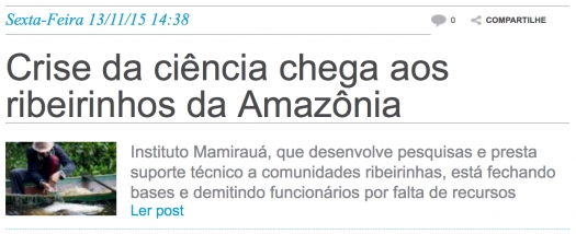 Crise da ciência chega aos ribeirinhos da Amazônia