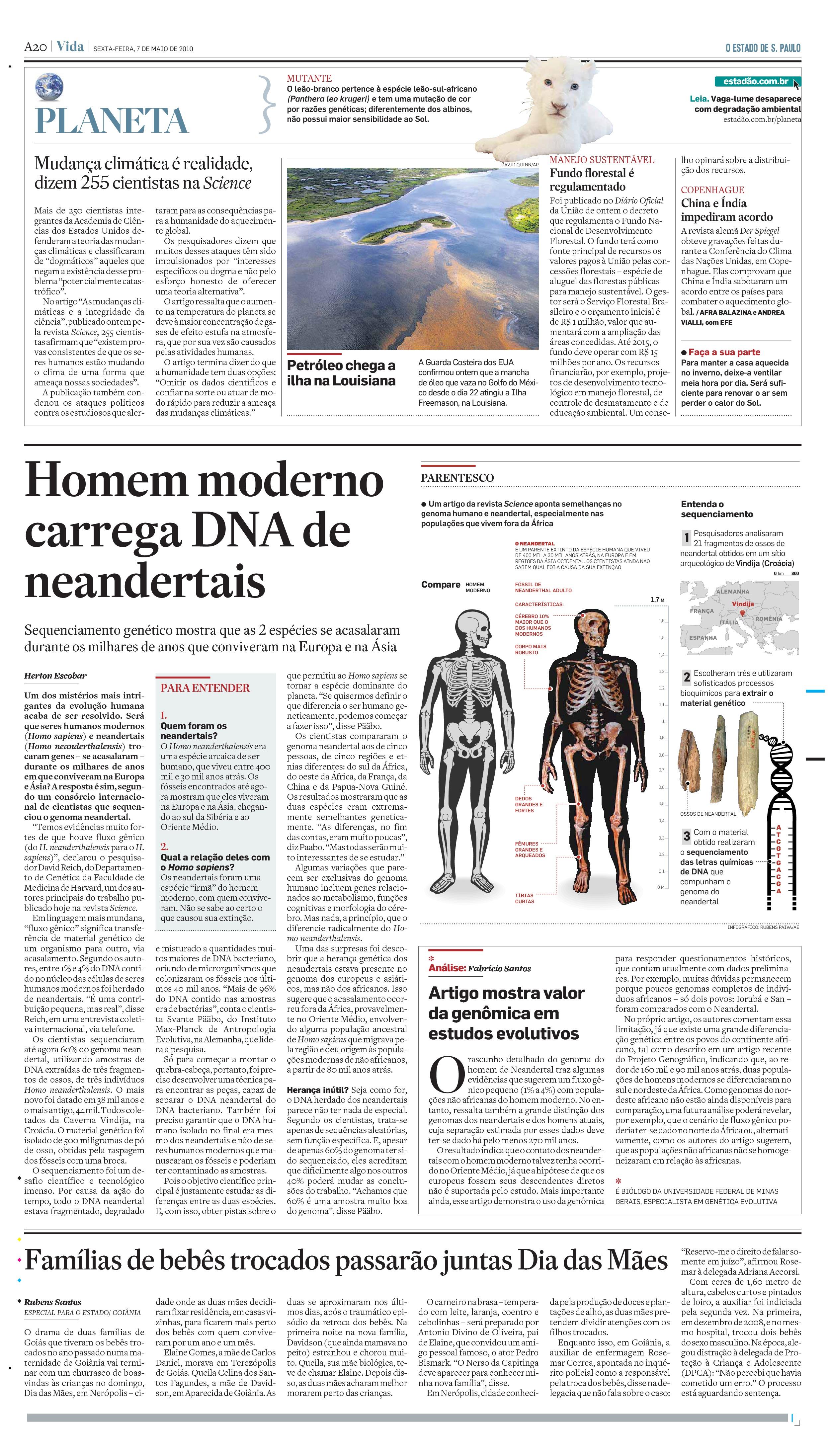 Homem moderno carrega DNA de neandertais