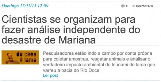 Cientistas se organizam para fazer análise independente do desastre de Mariana