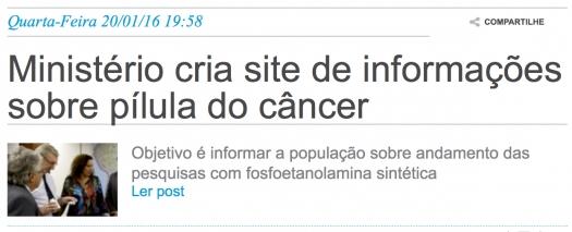 Ministério cria site de informações sobre pílula do câncer