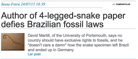 Author of 4-legged-snake paper defies Brazilian fossil laws