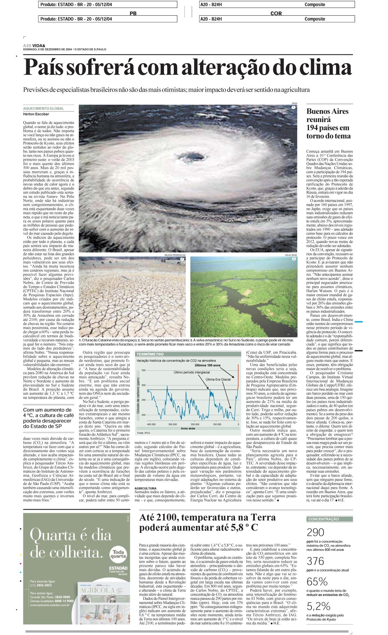 País sofrerá com alteração do clima