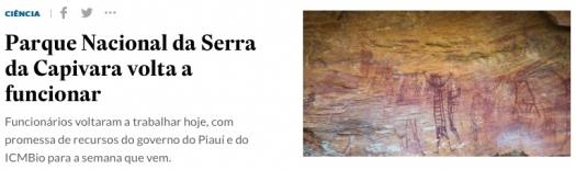 Parque Nacional da Serra da Capivara volta a funcionar
