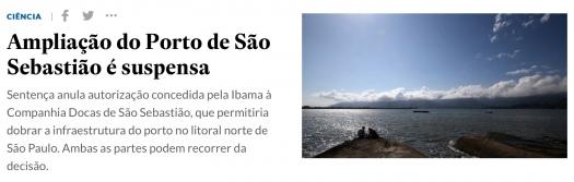 Juiz suspende licença de ampliação do Porto de São Sebastião