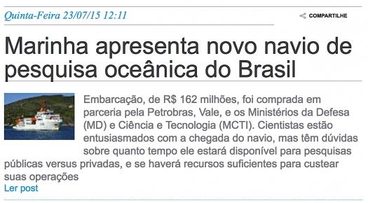 Marinha apresenta novo navio de pesquisa oceânica do Brasil