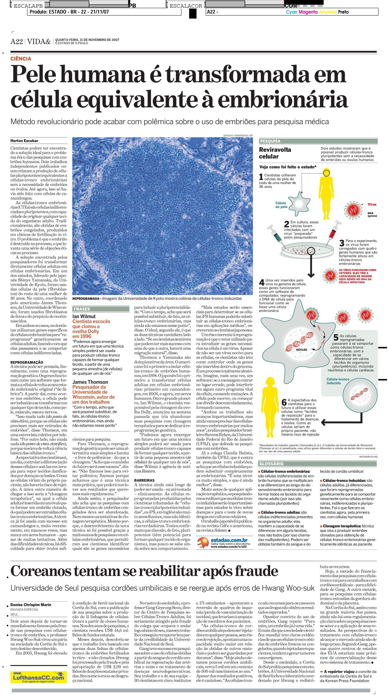 Pele humana é transformada em célula equivalente à embrionária