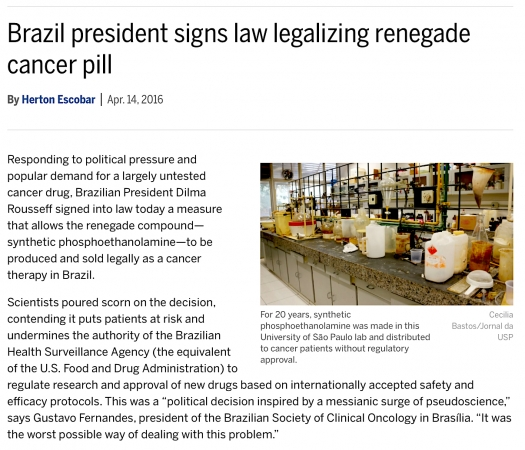 Brazilian president signs law legalizing renegade cancer pill