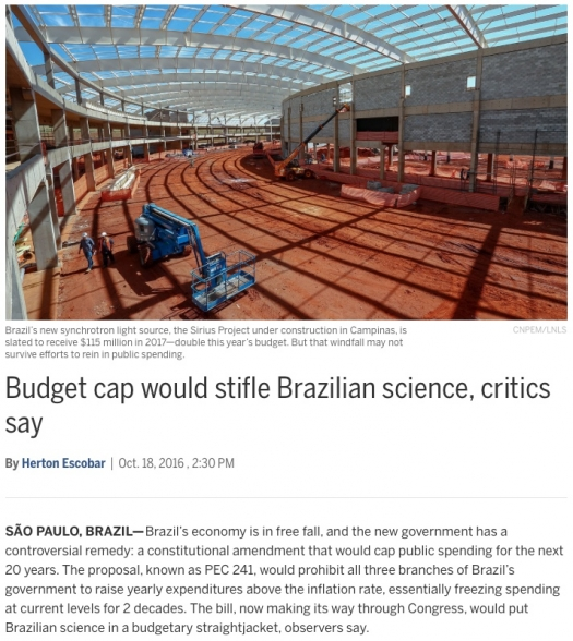 Budget cap would stifle Brazilian science, critics say