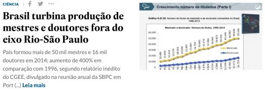 Brasil turbina produção de mestres e doutores fora do eixo Rio-São Paulo