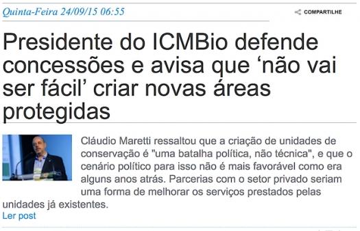 Presidente do ICMBio defende concessões e avisa que não vai ser fácil criar novas áreas protegidas