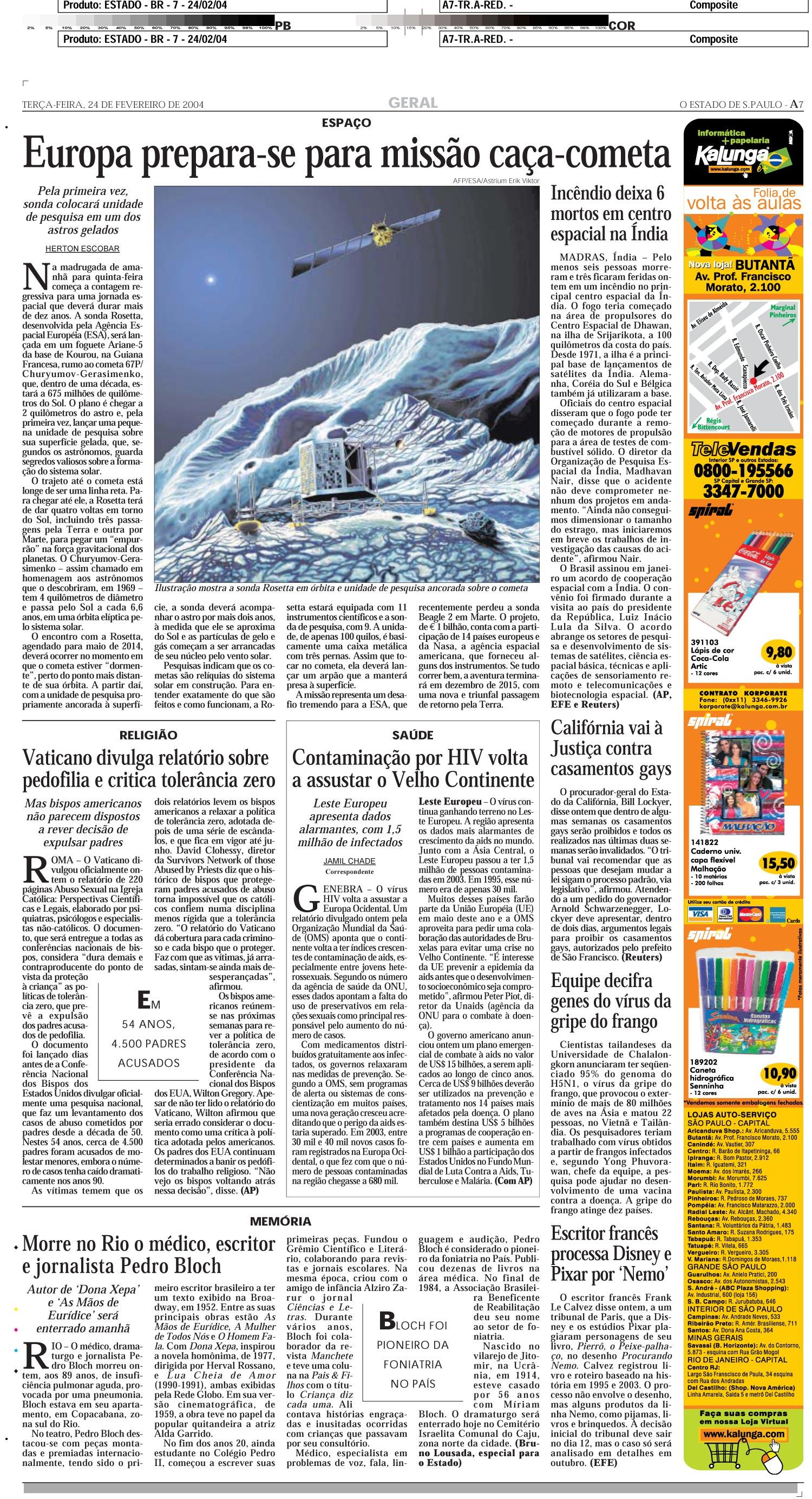 Europa prepara-se para missão caça-cometa