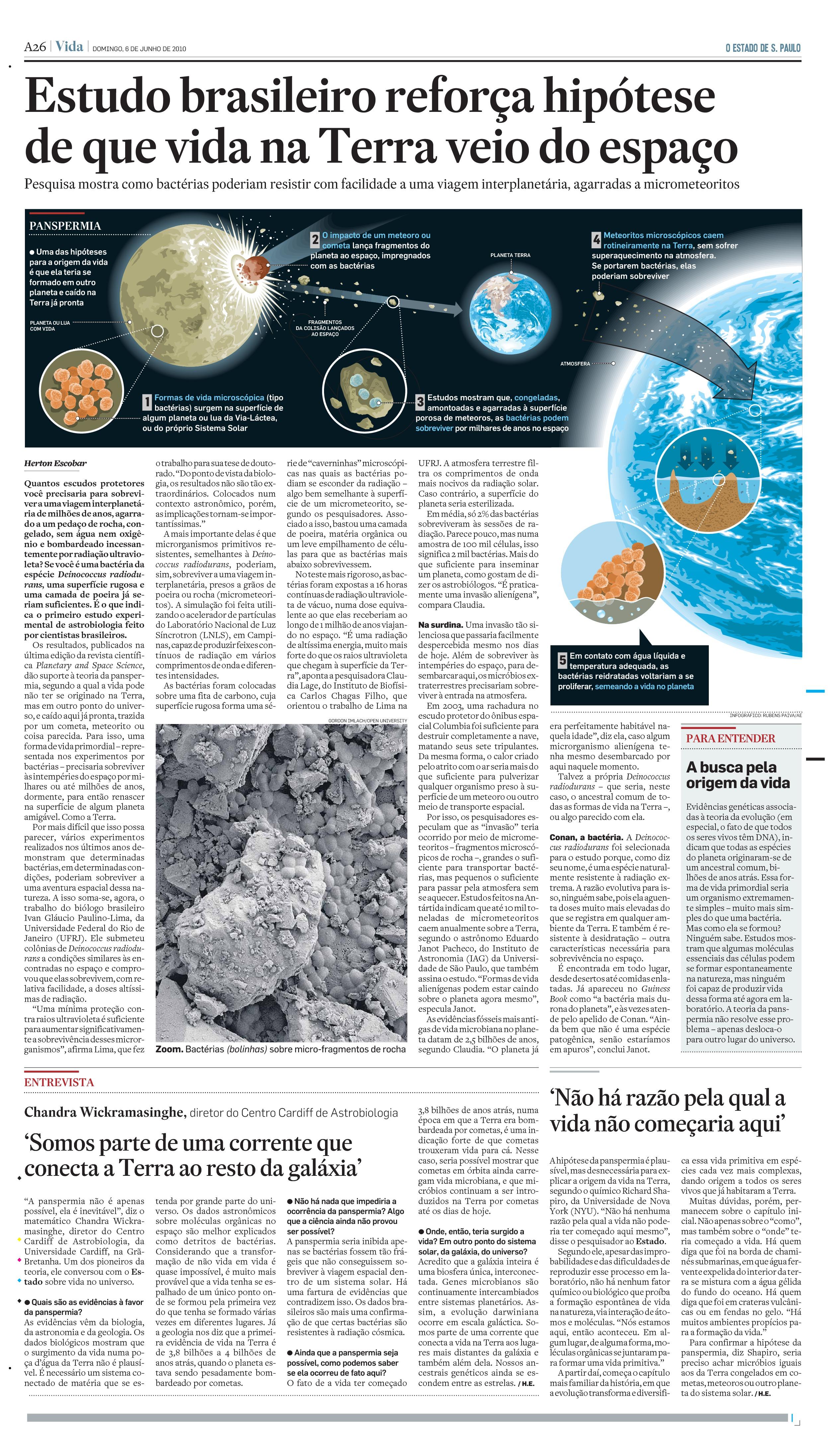 Estudo brasileiro reforça tese de que vida veio do espaço