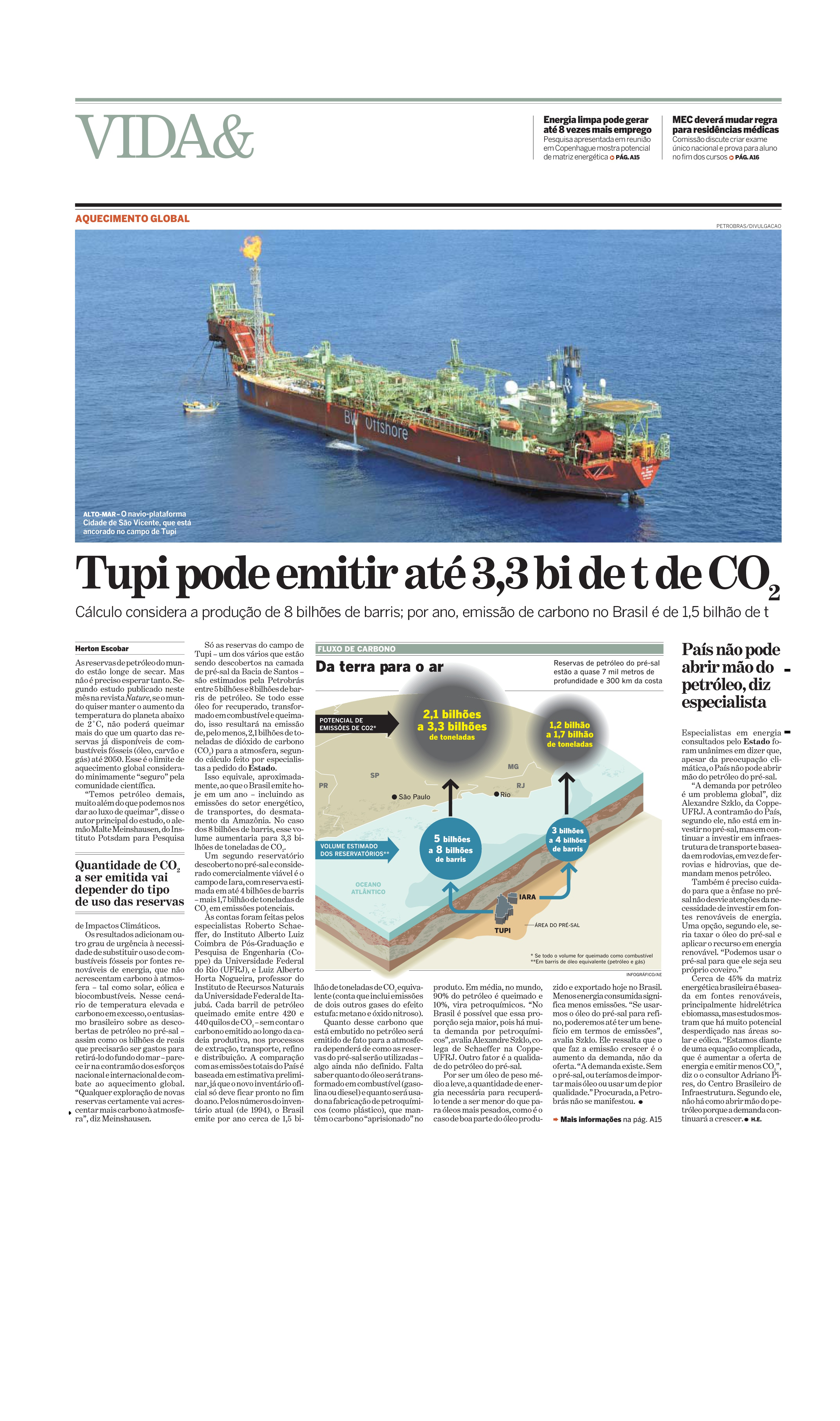 Tupi pode emitir até 3 bilhões de toneladas de CO2