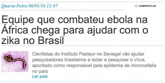 Equipe que combateu ebola na África chega para ajudar com zika no Brasil