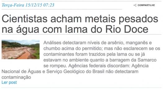 Cientistas acham metais pesados na água com lama do Rio Doce