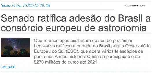 Senado ratifica adesão do Brasil a consórcio europeu de astronomia