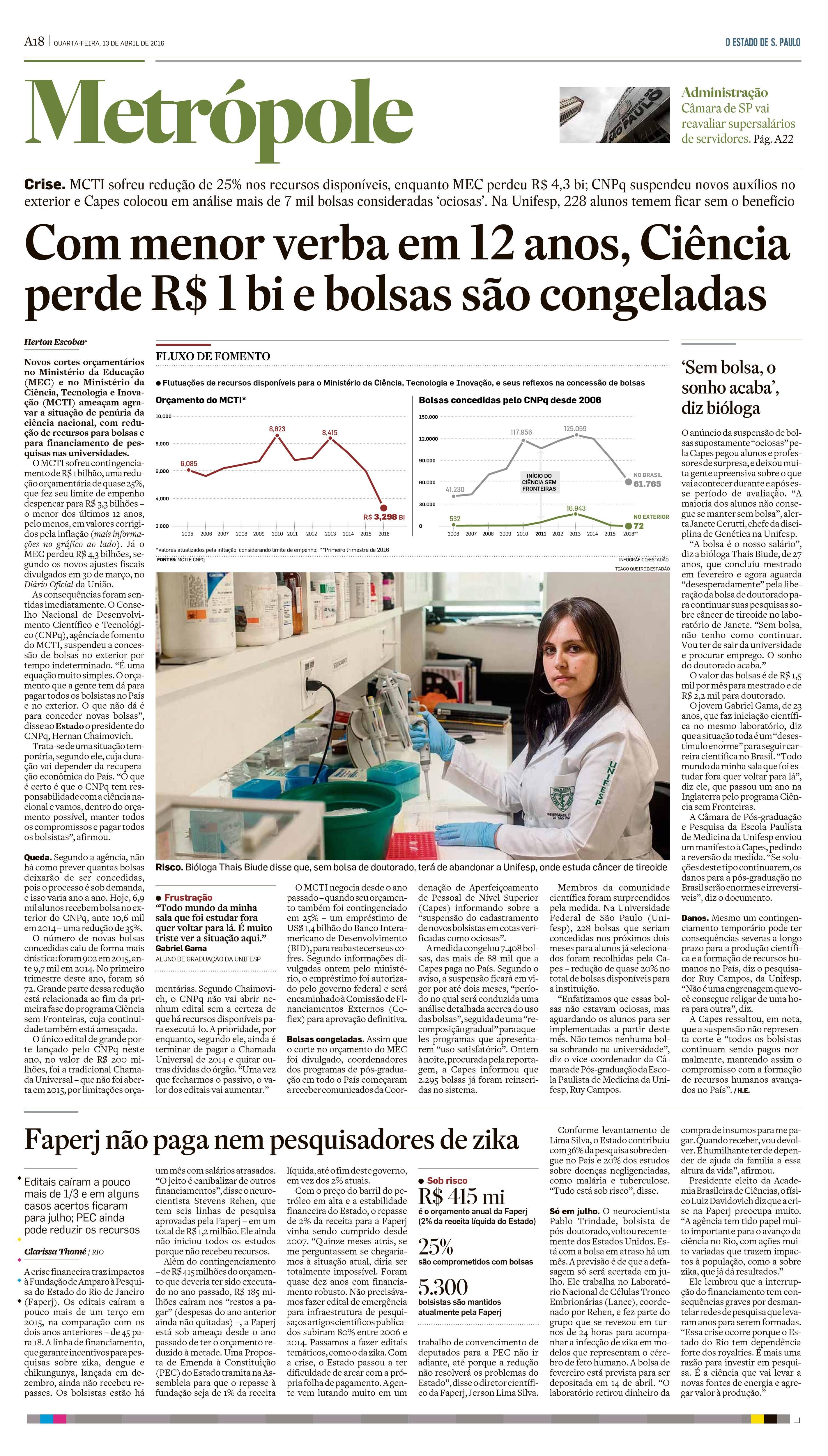 Ciência perde R$ 1bi e bolsas são congeladas