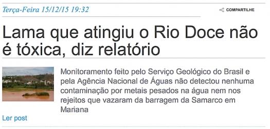Lama que atingiu o Rio Doce não é tóxica, diz relatório