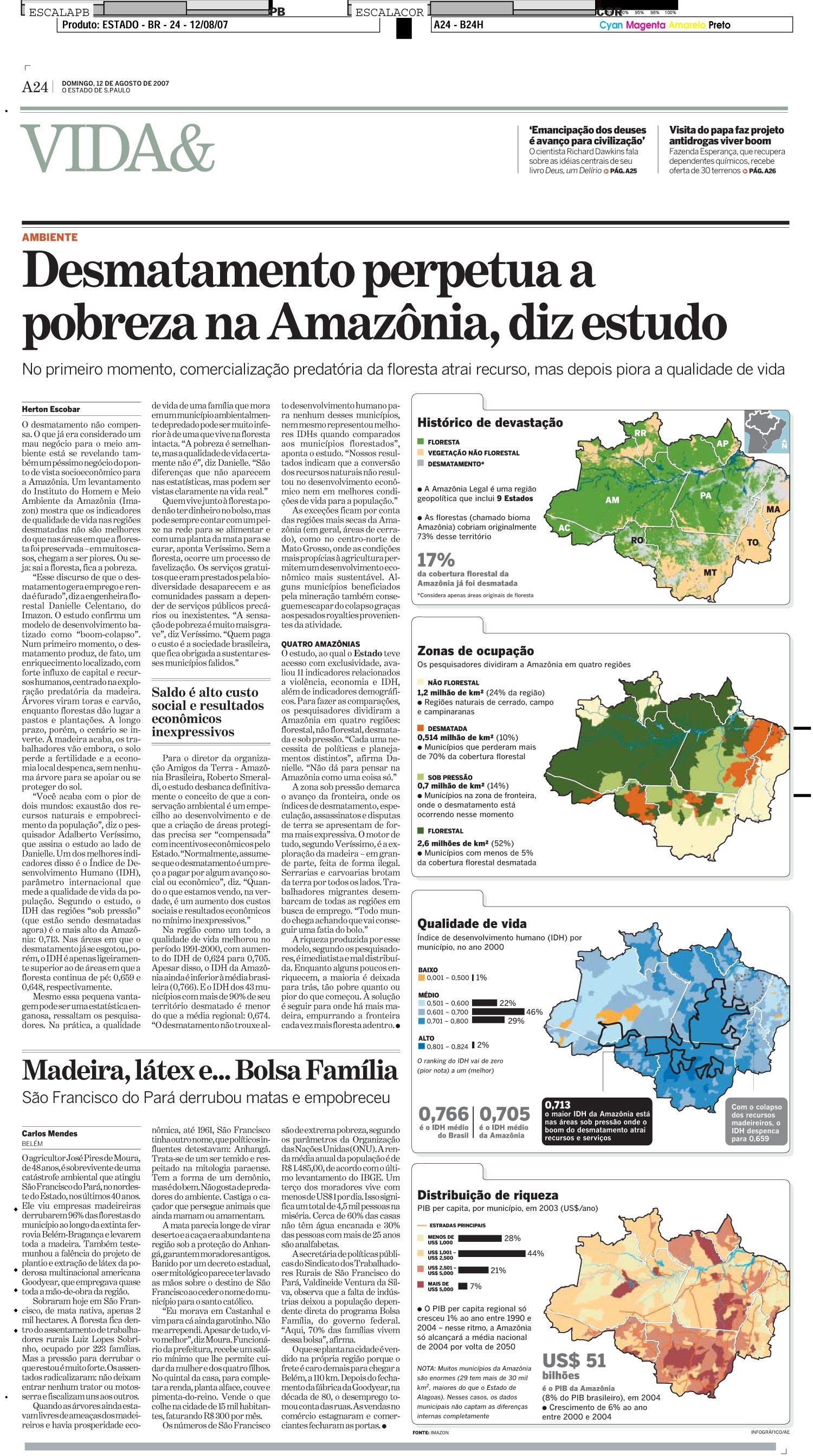 Desmatamento perpetua a pobreza da Amazônia, diz estudo