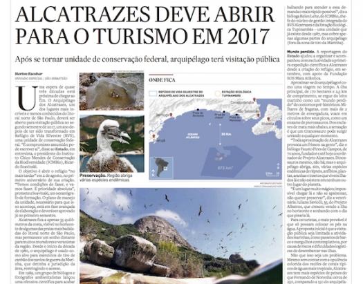 Alcatrazes deve abrir para o turismo em 2017
