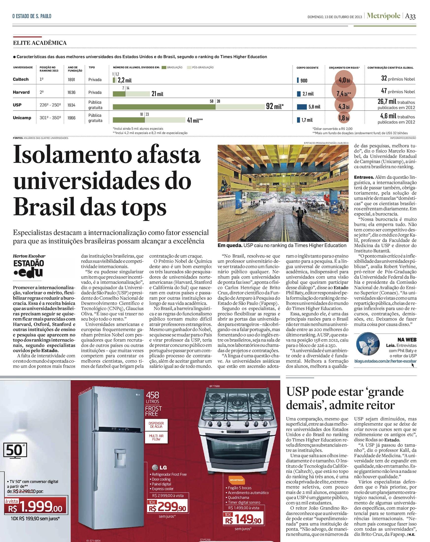 Isolamento afasta universidades brasileiras das tops mundiais