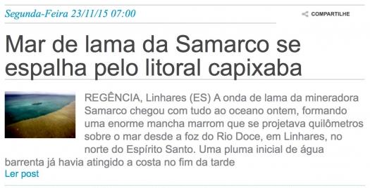Mar de lama da Samarco se espalha pelo litoral capixaba