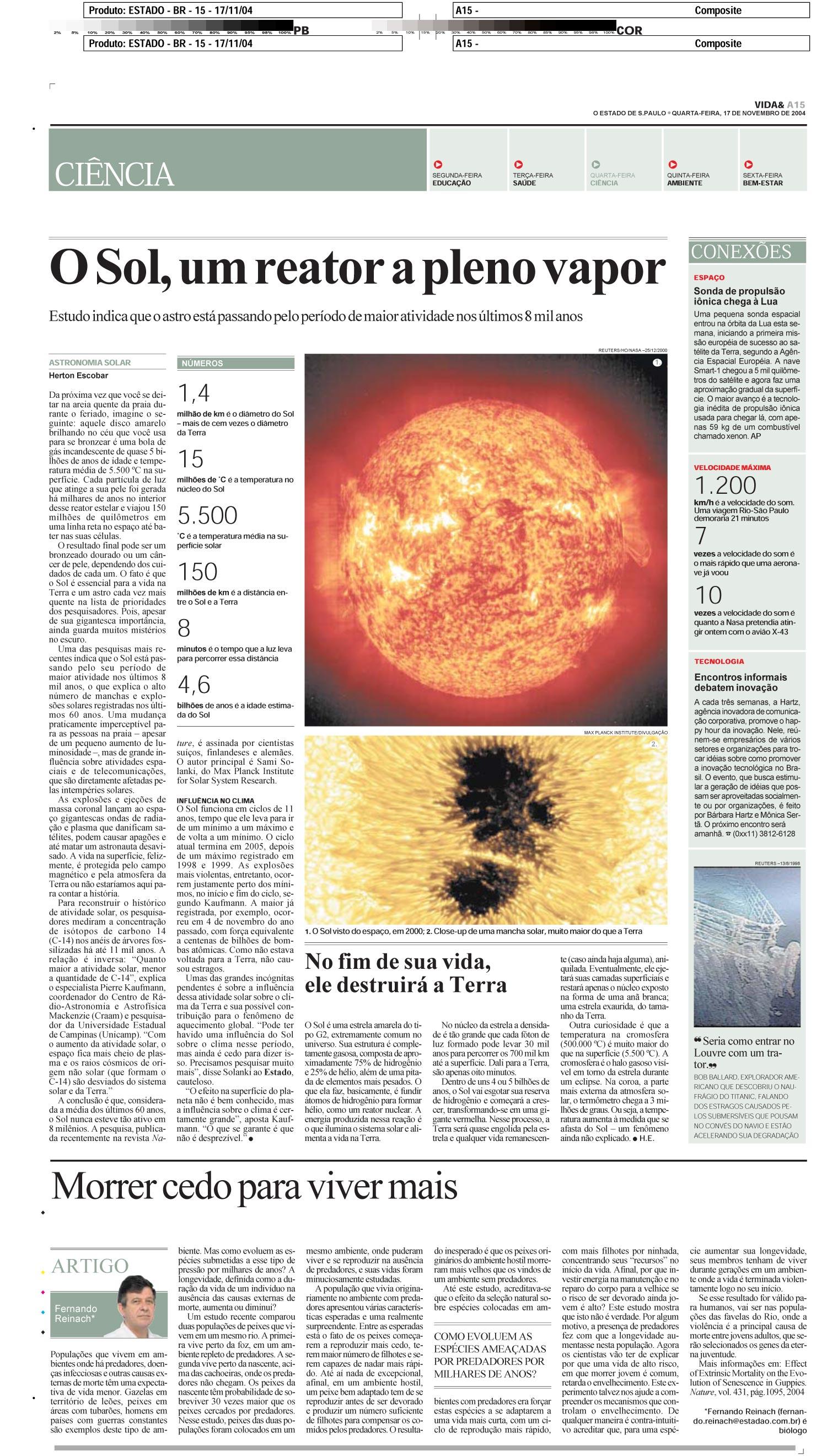 O Sol, um reator a pleno vapor