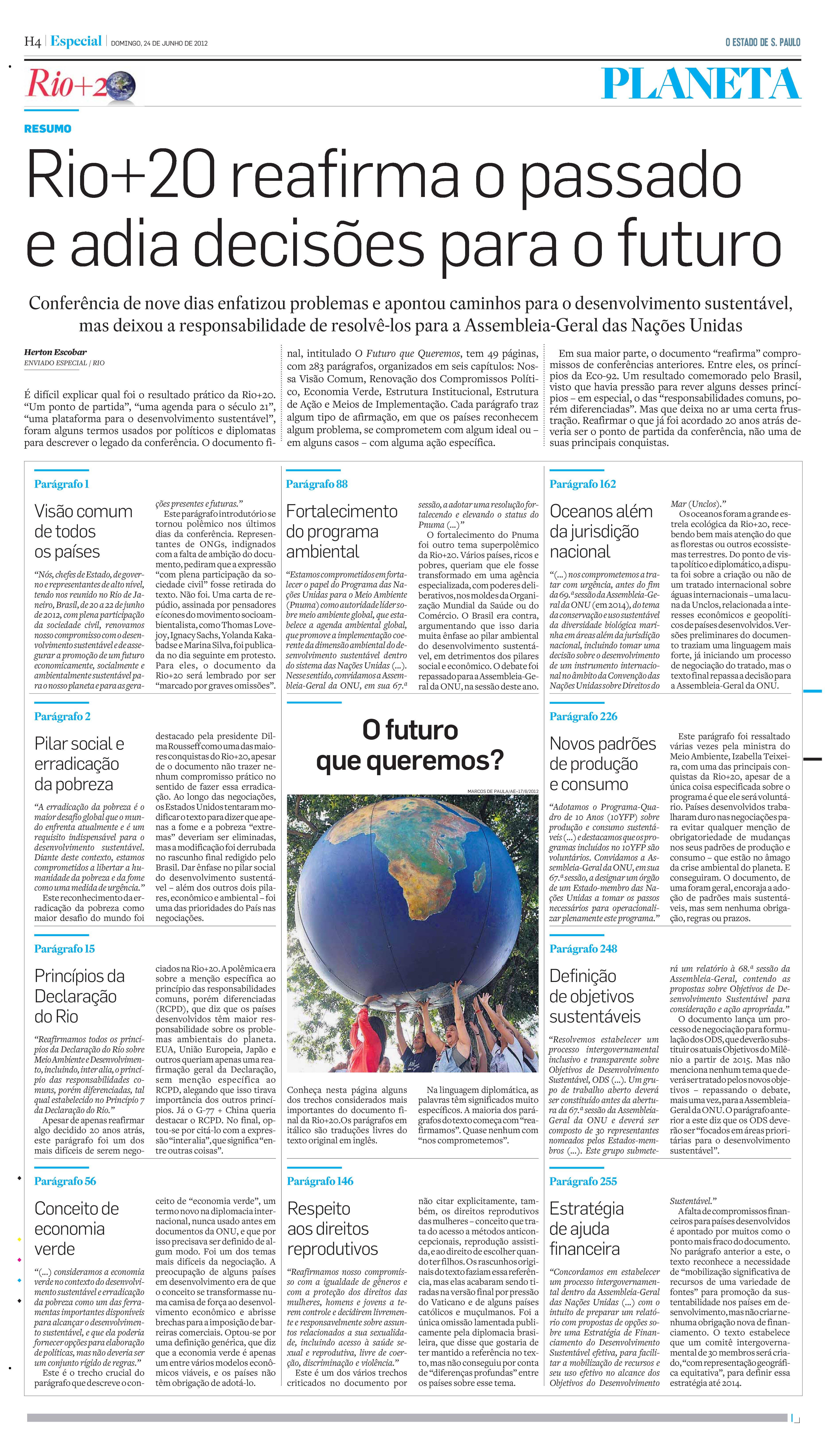 Rio+20 reafirma o passado e adia decisões para o futuro