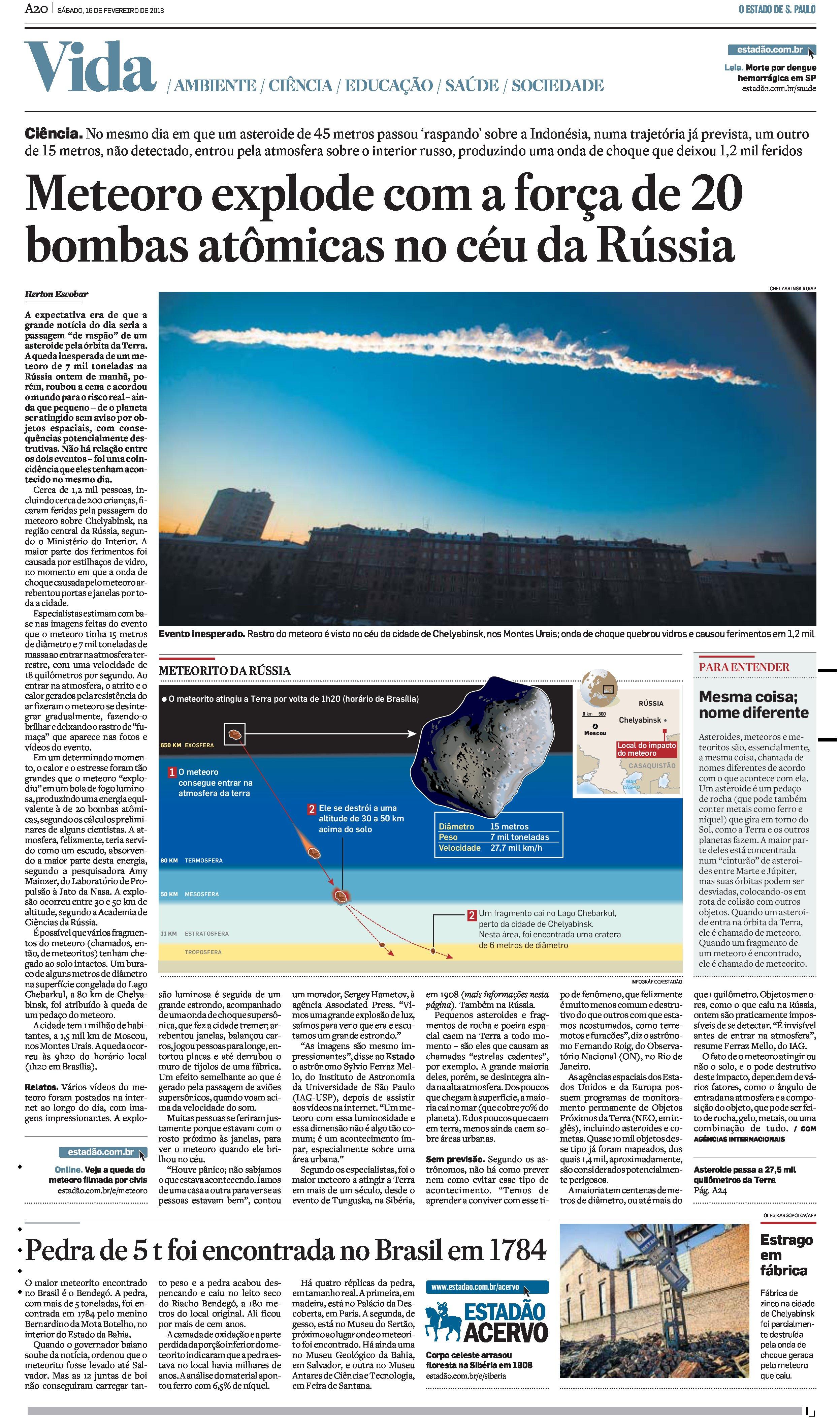 Meteoro explode com a força de 20 bombas atômicas no céu da Rússia
