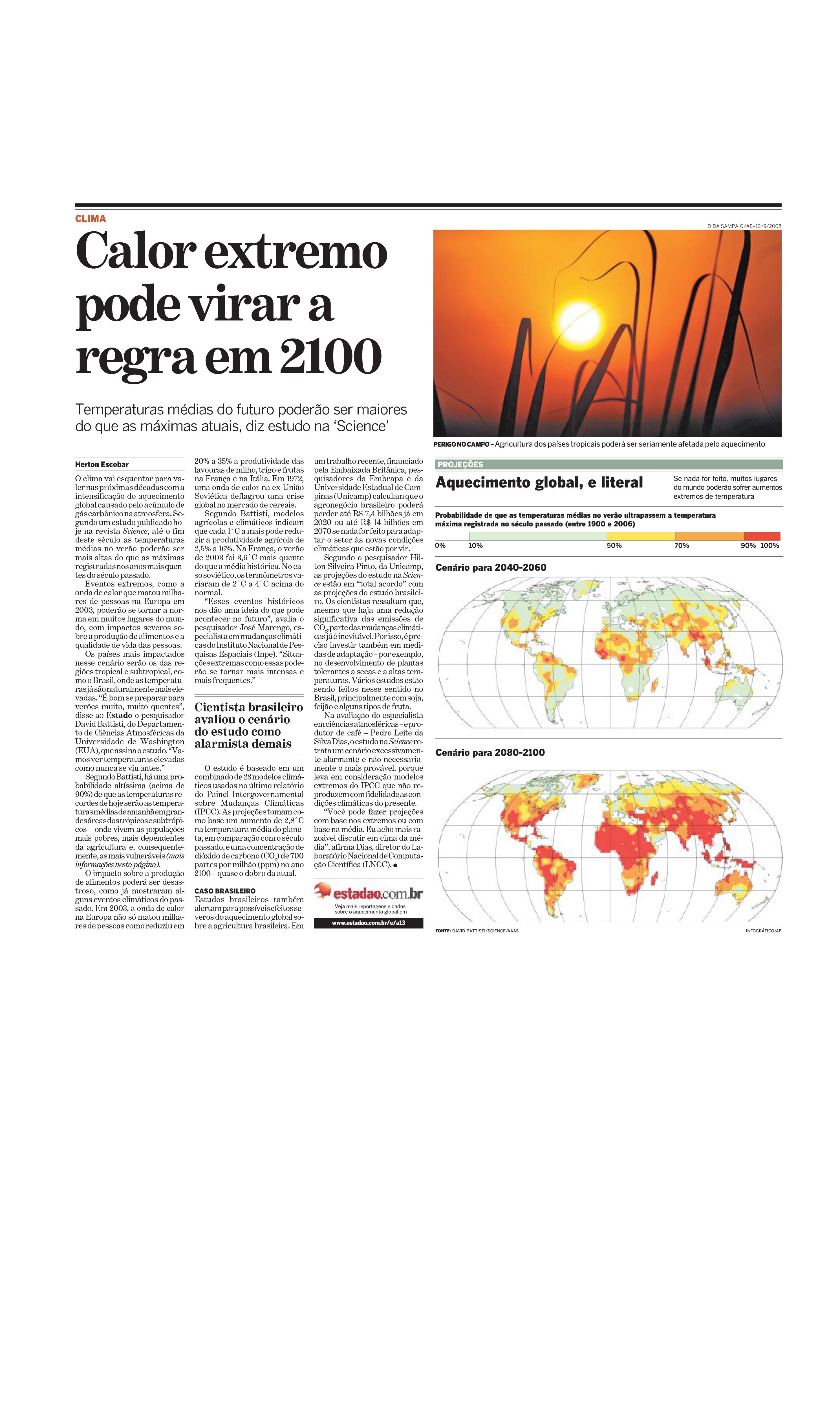 Calor extremo pode virar a regra em 2100