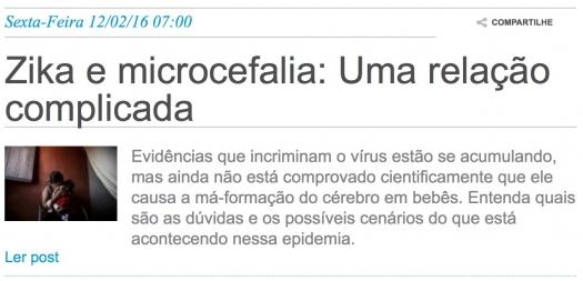 Zika e microcefalia: Uma relação complicada