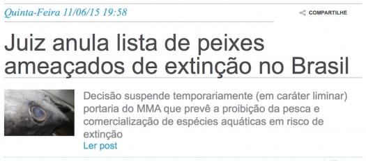 Juiz anula lista de peixes ameaçados de extinção no Brasil